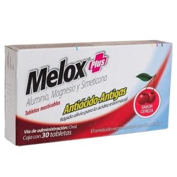 MELOX PLUX (Aluminio.magnesio y dimeticona) 30tabletas sabor cereza