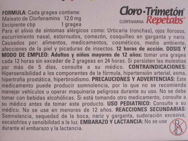 CLORO-TRIMETON REPETABS (CLORFENAMINA) 12MG 20TAB
