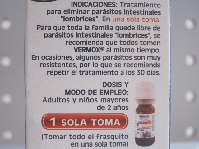 VERMOX (MEBENDAZOL) 60MG 10ML SUSPENSION